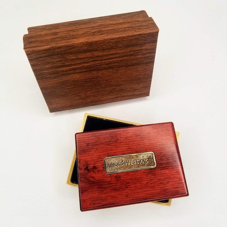 MeadWestvaco Lucite Box Trinket Jewelry Woodgrain Gold BTS Norwood 80s 90s