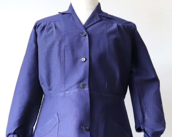 Vintage 1950s 50s deadstock french indigo blue bleu de travail cotton linen womens work chore dress shirtwaist workwear UK 14 16