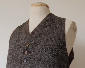 """Vintage 1940s 40s french salt and pepper tweed wool waistcoat vest buckle cinch back 42"""" chest work workwear chore"""