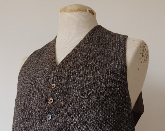 "Vintage 1940s 40s french salt and pepper tweed wool waistcoat vest buckle cinch back 42"" chest work workwear chore"