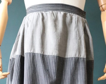 """Vintage antique 1920s 20s French grey striped pin tuck pleated work chore under skirt hand made 24"""" 26"""" waist"""