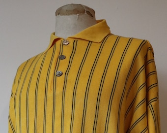 "Vintage 1980s 80s deadstock vibrant yellow striped banlon polo shirt top knit knitted cotton made in Italy 50"" chest mod Ivy League style"