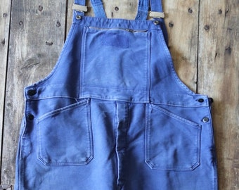 "Vintage 1970s 70s French bleu de travail indigo blue moleskin dungarees overalls XXL workwear work chore 46"" 48"" x 33"""