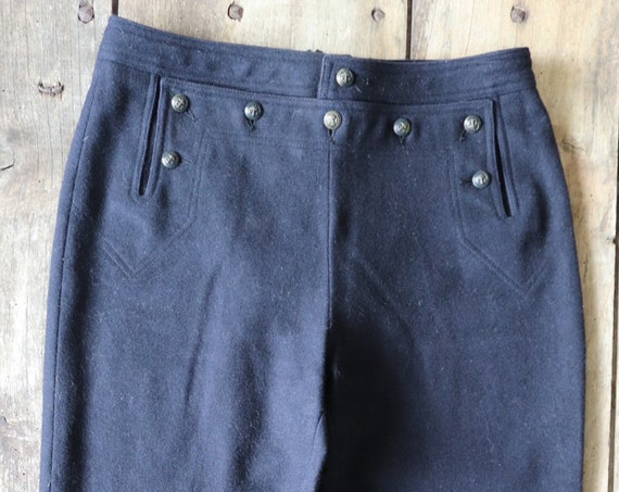 """Vintage french navy naval style wool bell bottoms flares trousers pants button up lace cinch back 27"""" x 31"""""""