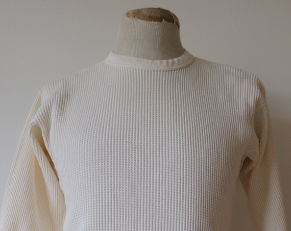 "Vintage 1960s 60s white waffle thermal undershirt shirt top unisex long sleeved underwear 36"" 38"" 40"" chest workwear work chore Penleigh"