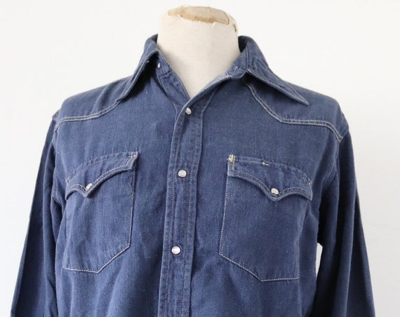 "Vintage 1960s 60s Champion deep indigo blue denim shirt western cowboy 44"" chest pearl snaps"
