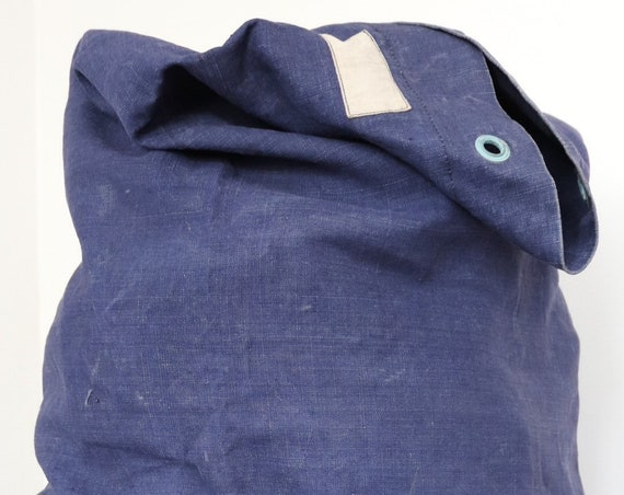 Vintage 1950s 50s french indigo blue linen Marine Nationale duffle bag navy military bleu de travail workwear work chore ditty laundry sack