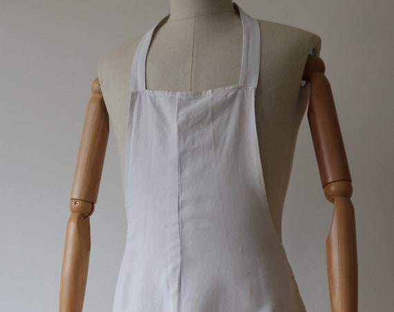 "Vintage 1940s 40s French white cotton button up apron pinny work chore workwear 39"" waist"