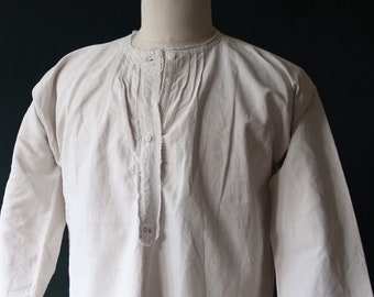 """Vintage antique french white linen nightgown night shirt pin tuck pleats size free 43"""" chest indigo dye project"""