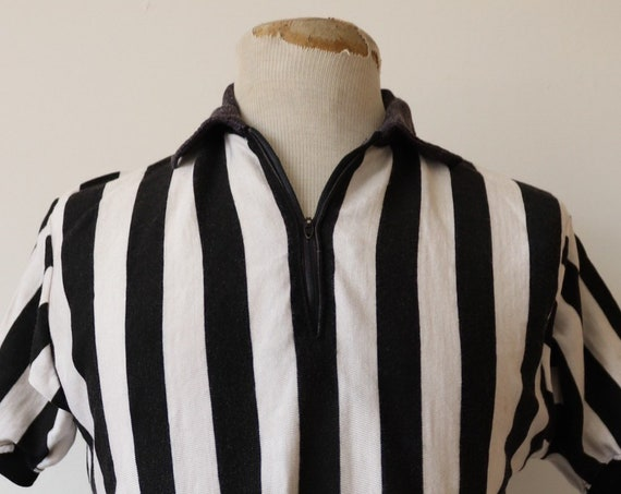 "Vintage 1960s 60s 1970s 70s black white striped referee top polo shirt Talon zipper 40"" chest sportswear"