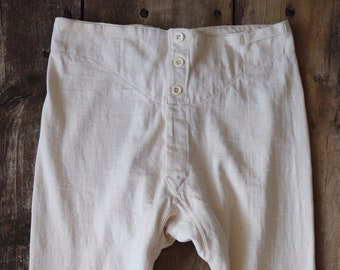 """Vintage deadstock 1950s 50s off white french army military underwear long johns union suit thermal neppy 30"""" waist"""