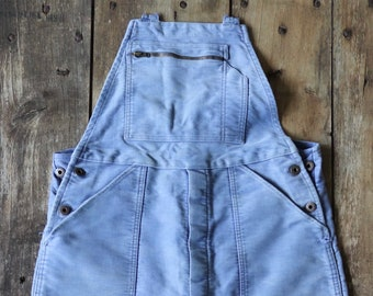 """Vintage 1950s 50s French Le Mont St Michel moleskin overalls dungarees work chore workwear 36"""" 38"""" x 29"""""""