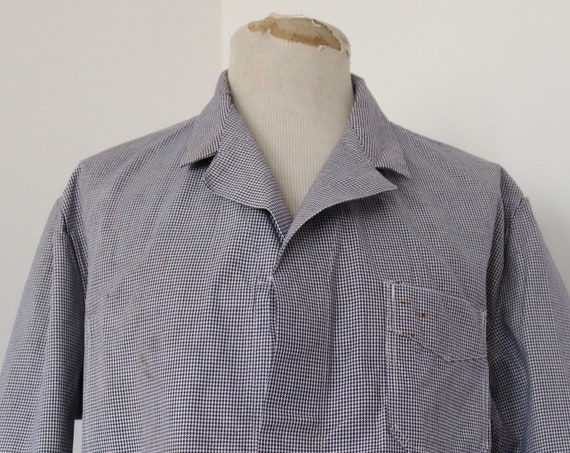 "Vintage 1960s 60s deadstock french blue white butchers jacket chore work workwear 47"" chest houndstooth dogtooth check"