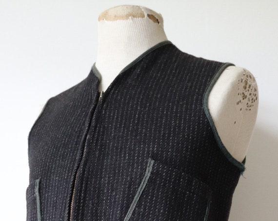 "Vintage 1980s 80s Woolrich grey wool vest waistcoat 40"" chest Talon zipper hunting shooting Browns Beach"