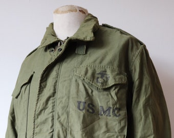"Vintage 1970s 70s USMC marine corps M-65 M65 field utility jacket sateen OG 107 46"" chest military khaki green"