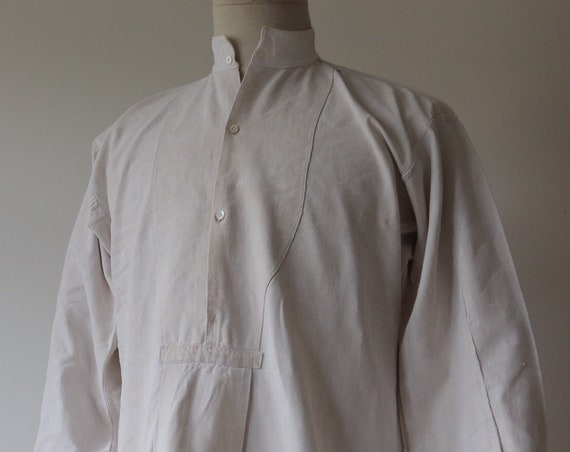 "Vintage antique 1900s french white cotton linen smock shirt 42"" chest monogrammed pop over grandad collar"