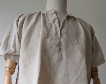"""Vintage antique 1900s french off white linen night gown robe shirt dress monogrammed 48"""" chest indigo dye project"""