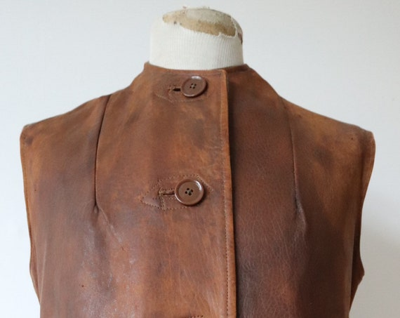"""Vintage 1940s 40s WW2 womens ATS brown leather jerkin waistcoat vest battledress british army land girl military cinch buckle back 42"""" chest"""