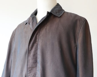 "Vintage 1950s 50s two tone iridescent sharkskin overcoat mad men midcentury 48"" chest lined American"