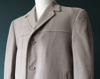 """Vintage 1960s 60s taupe grey brown Weaver Wearer long wool overcoat trench great coat mod Ivy League style 46"""" chest"""
