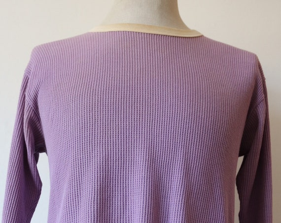 "Vintage 1960s 60s heather purple mauve waffle thermal long underwear ringer top shirt 38"" chest"