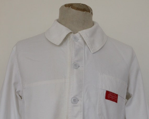 "Vintage deadstock 1960s 60s french white painters chore work jacket workwear 42"" chest cotton twill"