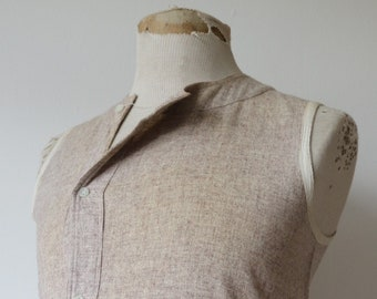 "Vintage 1940s 40s french army military grey wool undershirt Henley vest thermal underwear 38"" chest selvedge"