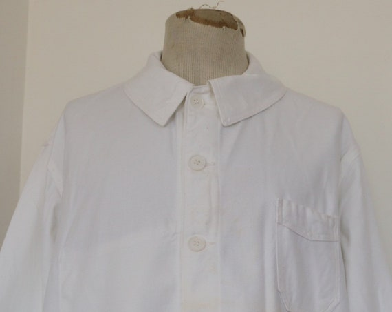 "Vintage deadstock 1960s 60s french white painters chore work jacket workwear 52"" chest XL cotton twill"