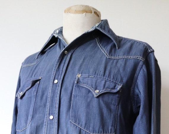 "Vintage 1960s 60s Champion indigo blue denim Western shirt pearl snap 42"" chest cowboy"