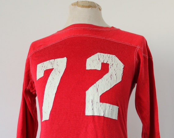 "Vintage 1960s 60s 1970s 70s red white 72 HD Lee Mercantile durene sports football top shirt 35"" chest sportswear American"