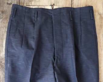 e21a36de Vintage 1950s 50s dark midnight blue sharkskin v notch drop loop trousers  pants cuffed button fly 30