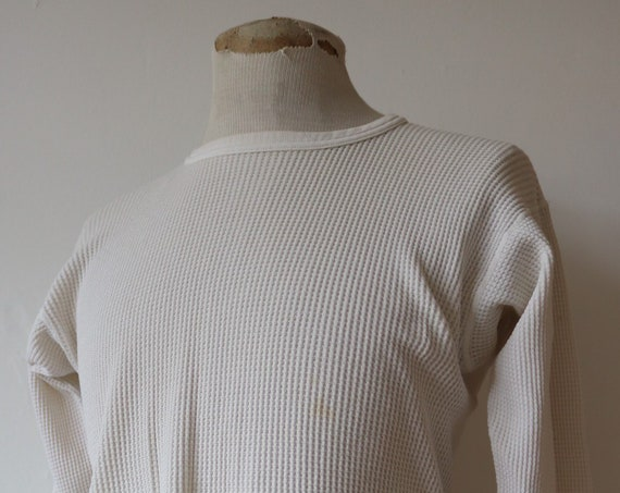 "Vintage 1970s 70s white waffle thermal undershirt shirt top unisex lomg sleeved underwear 36"" 38"" 40"" chest workwear work chore J E Morgan"