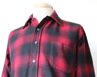 """Vintage 1960s 60s red black checked shadow plaid wool shirt 44"""" chest rockabilly"""
