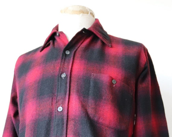 "Vintag 1960s 60s red black checked shadow plaid wool shirt 44"" chest rockabilly"