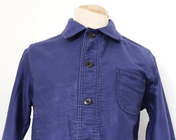 "Vintage 1960s 60s french indigo blue bleu de travail moleskin work chore jacket 41"" chest unisex workwear Le Mont St Michel"
