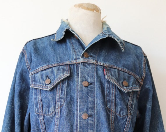 "Vintage 1970s 70s Levis Levi Strauss denim trucker type three jacket capital big E red tab 46"" chest workwear"