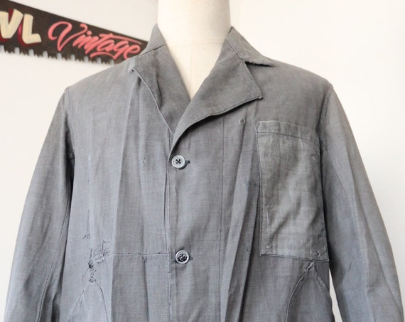 "Vintage 1940s 40s 1950s 50s french grey darned repaired long chore factory coat duster jacket work workwear 44"" chest"