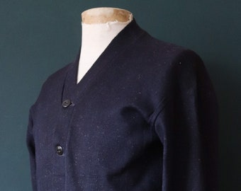 Vintage 1940s 40s American USA blue wool knitted varsity Ivy League style rockabilly mod S chenille patch jumper sweater cardigan knitwear