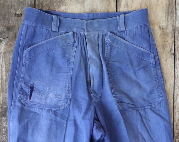 "Vintage 1950s 50s french indigo blue bleu de travail cotton twill work chore trousers pants workwear darned repaired 30"" x 29"" button fly"