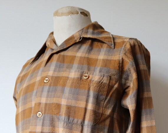 "Vintage 1980s 80s Sir Pendleton wool shirt 42"" chest wool plaid checked brown grey"