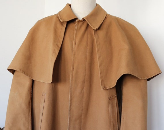 "Vintage 1940s 40s french tan brown hunting coat raincoat overcoat waterproof canvas removable cape 48"" chest Royal Hunter"