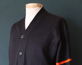 Vintage 1950s 50s American USA black wool knitted varsity Ivy League style rockabilly mod P chenille patch jumper sweater cardigan knitwear