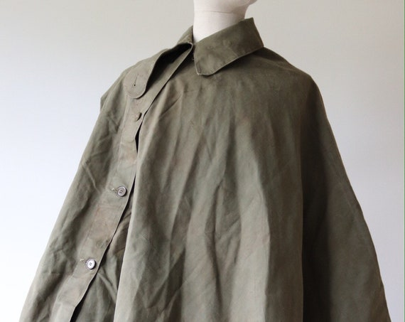 Vintage 1950s 50s khaki green cotton canvas british army gas cape rain poncho waterproof military G Strauss