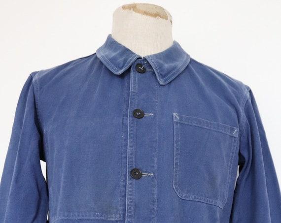"""Vintage 1960s 60s french indigo blue bleu de travail Marine Nationale navy naval work chore jacket workwear cotton twill 42"""" chest"""