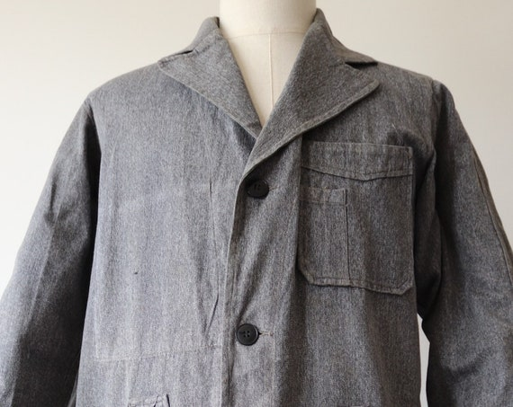 "Vintage 1950s 50s french grey salt pepper long chore work duster atelier coat jacket workwear 45"" chest factory overalls coverall"