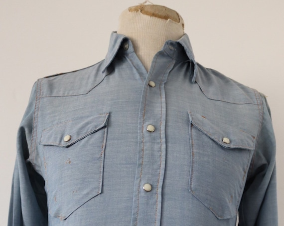 "Vintage 1960s 60s Wrangler chambray denim cowboy western shirt snap buttons sanforized workwear 38"" chest"