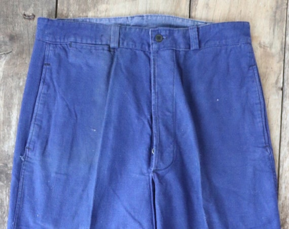 "Vintage 1960s french indigo blue bleu de travail cotton twill work chore trousers pants workwear 30"" x 27"" button fly"