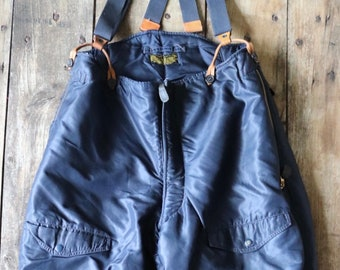 "Vintage 1950s 50s USAF US air force extreme cold weather trousers F-1A F1A overalls Monarch Talon zipper motorcycle 35"" x 30"""