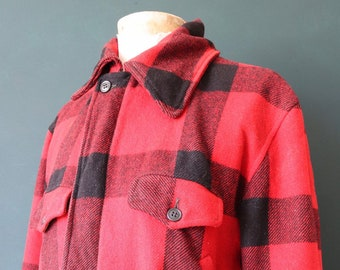 "Vintage 1950s 50s American red black buffalo plaid wool check hunting shooting jacket work chore workwear Talon zipper 48"" chest"