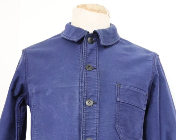 "Vintage 1960s 60s french indigo blue bleu de travail moleskin work chore jacket 40"" chest unisex workwear Le Mont St Michel"